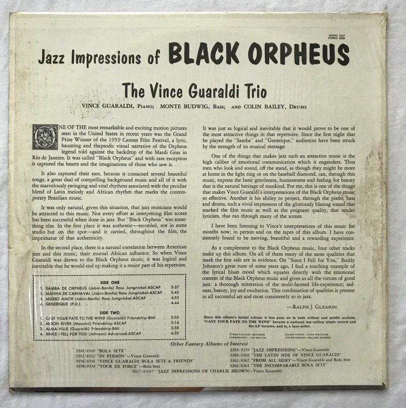 Jazz Impressions Of Black Orpheus Vince Guaraldi Trio